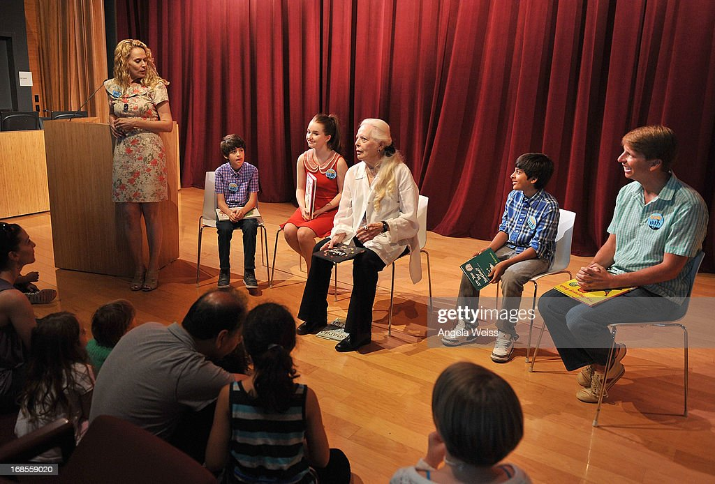 Actors Joshua Rush, Kaitlyn Dever, Barbara Bain, Karan Brar and Jack McBrayer with BookPALS Director Robin Roy (L) read at the Screen Actors Guild Foundation 20 Years Of BookPALS celebration at West Hollywood City Council Chamber on May 11, 2013 in West Hollywood, California.