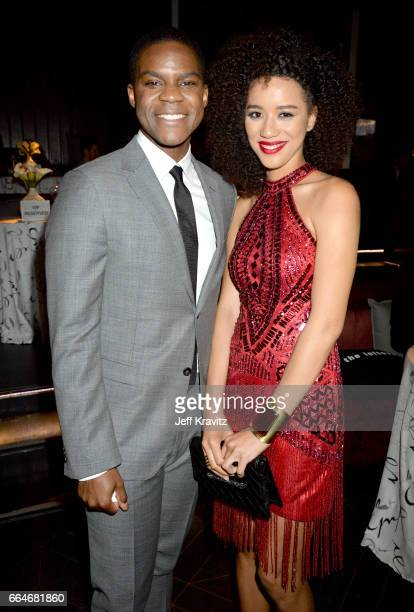 Actors Jovan Adepo and Jasmin Savoy Brown attend HBO's 'The Leftovers' season 3 premiere and after party at Avalon Hollywood on April 4 2017 in Los...