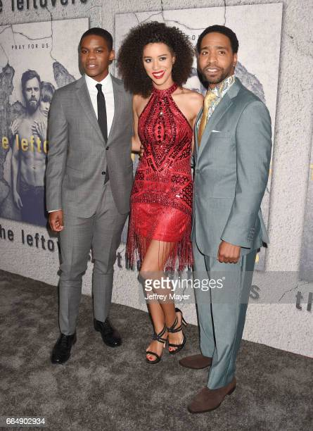 Actors Jovan Adepo Jasmin SavoyBrown and Kevin Carroll attend the premiere of HBO's 'The Leftovers' Season 3 at Avalon Hollywood on April 4 2017 in...