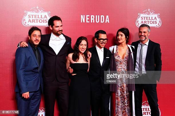 Actors Juan Pablo Medina Manuel Rulfo Manolo Caro Mariana Trevino and Erendira Ibarra pose during the red carpet of the Morelia International Film...