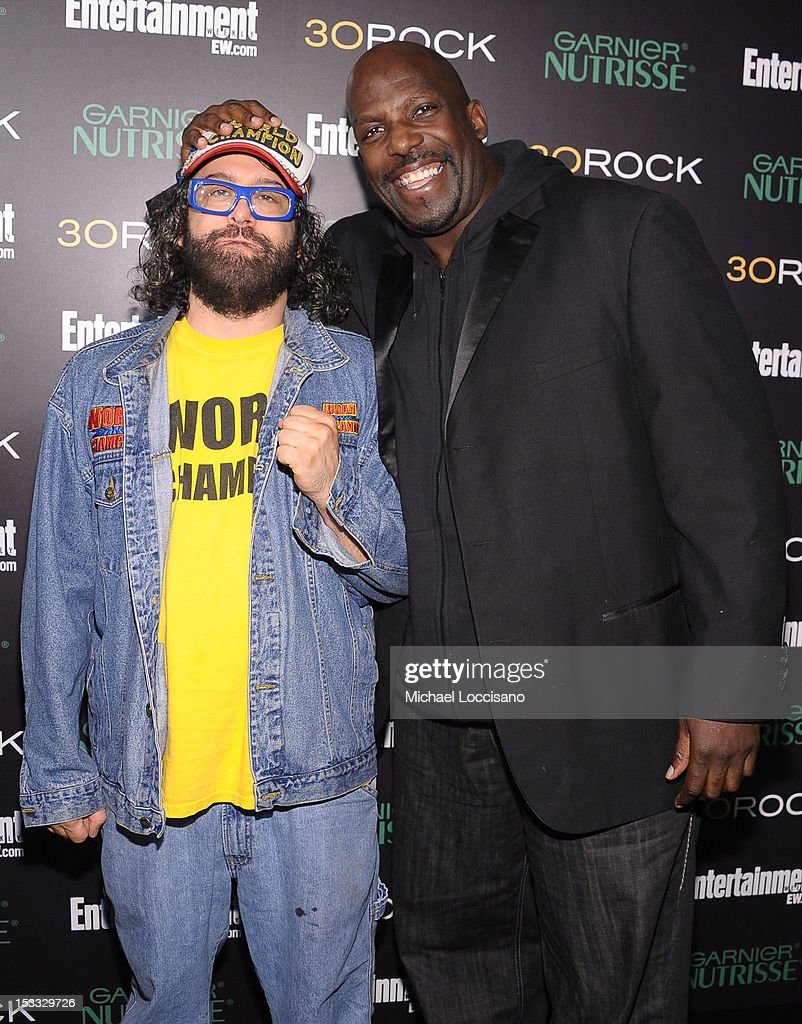 Actors Judah Friedlander (L) and Kevin Brown attend Entertainment Weekly and NBC's celebration of the final season of 30 Rock sponsored by Garnier Nutrisse on October 3, 2012 in New York City.