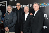 Actors Judd Hirsch Jeff Goldblum director Roland Emmerich and actor Bill Pullman attend the 'Independence Day Resurgence' premiere sponsored by Jeep...