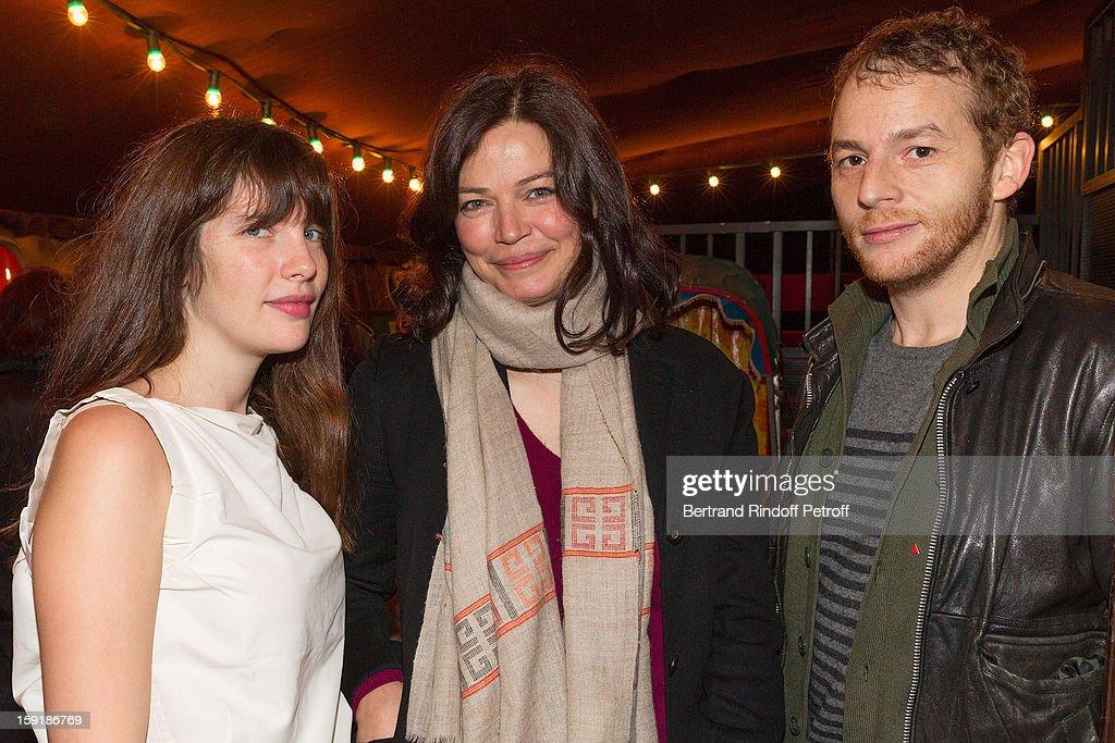Actors Judith Davis Marianne Denicourt and Malik Zidi attend the 'Menelas rebetiko rapsodie' premiere at Le Grand Parquet on January 9 2013 in Paris...