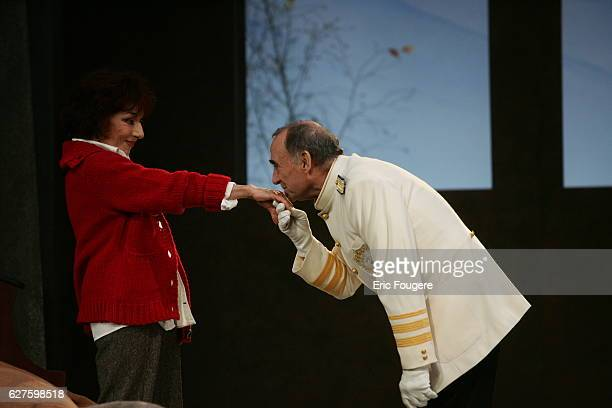 Actors Judith Magre and Claude Brasseur perform during the spinning of Yves Ravey's play 'Dieu est un Steward de Bonne Composition' at the Rond Point...
