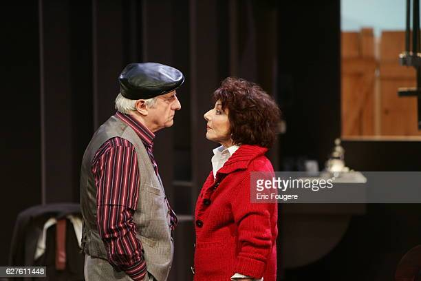 Actors Judith Magre and Michel Aumont perform during the spinning of Yves Ravey's play 'Dieu est un Steward de Bonne Composition' at the Rond Point...