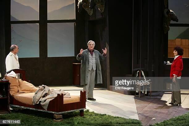 Actors Judith Magre Claude Brasseur and Michel Aumont perform during the spinning of Yves Ravey's play 'Dieu est un Steward de Bonne Composition' at...