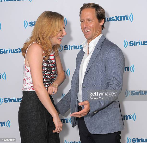 Actors Judy Greer and Nat Faxon visit the SiriusXM Studios on July 24 2014 in New York City