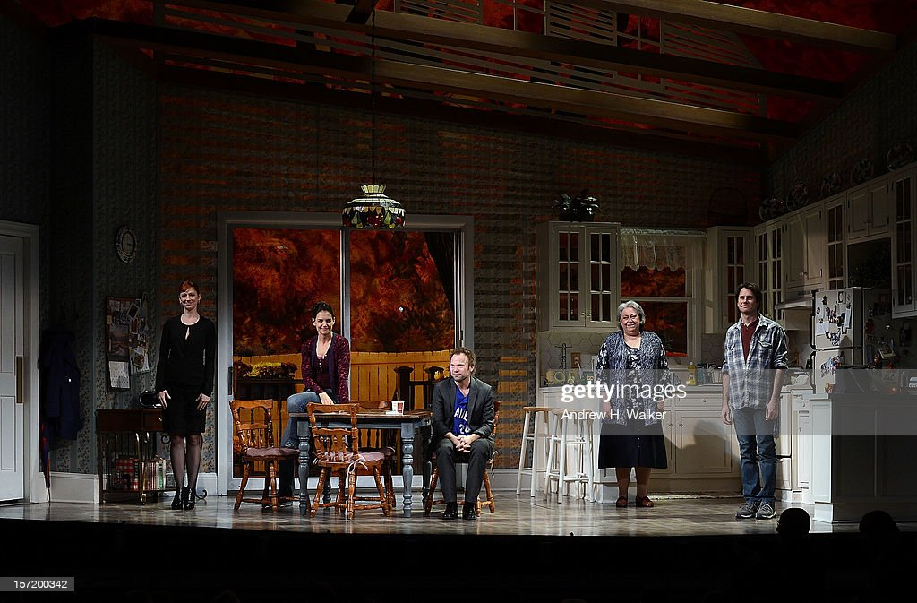 Actors Judy Greer, Katie Holmes, Norbert Leo Butz, Jayne Houdyshell and Josh Hamilton take their curtain call during the 'Dead Accounts' Broadway opening night at the Music Box Theatre on November 29, 2012 in New York City.