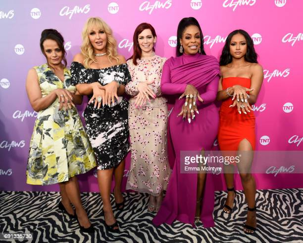 Actors Judy Reyes Jenn Lyon Carrie Preston Niecy Nash and Karrueche Tran attend the premiere of TNT's 'Claws' at Harmony Gold Theatre on June 1 2017...