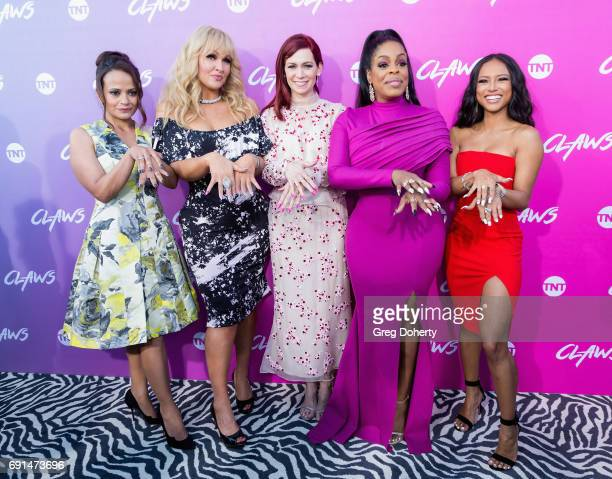 Actors Judy Reyes Jenn Lyon Carrie Preston Niecy Nash and Karrueche Tran arrive for the Premiere Of TNT's 'Claws' at the Harmony Gold Theatre on June...