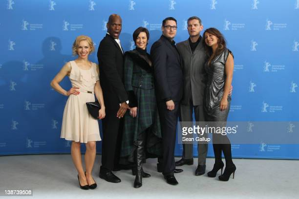 Actors Julia Dietze Christopher Kirby Stephanie Paul director Timo Vuorensola actors Goetz Otto and Peta Sergeant attend the 'Iron Sky' Photocall...