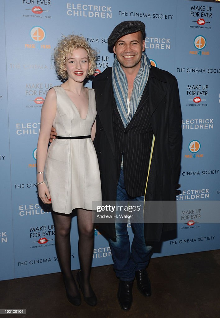 Actors Julia Garner (l) and <a gi-track='captionPersonalityLinkClicked' href=/galleries/search?phrase=Billy+Zane&family=editorial&specificpeople=211418 ng-click='$event.stopPropagation()'>Billy Zane</a> (r) attend The Cinema Society & Make Up For Ever screening of 'Electrick Children' at IFC Center on March 4, 2013 in New York City.