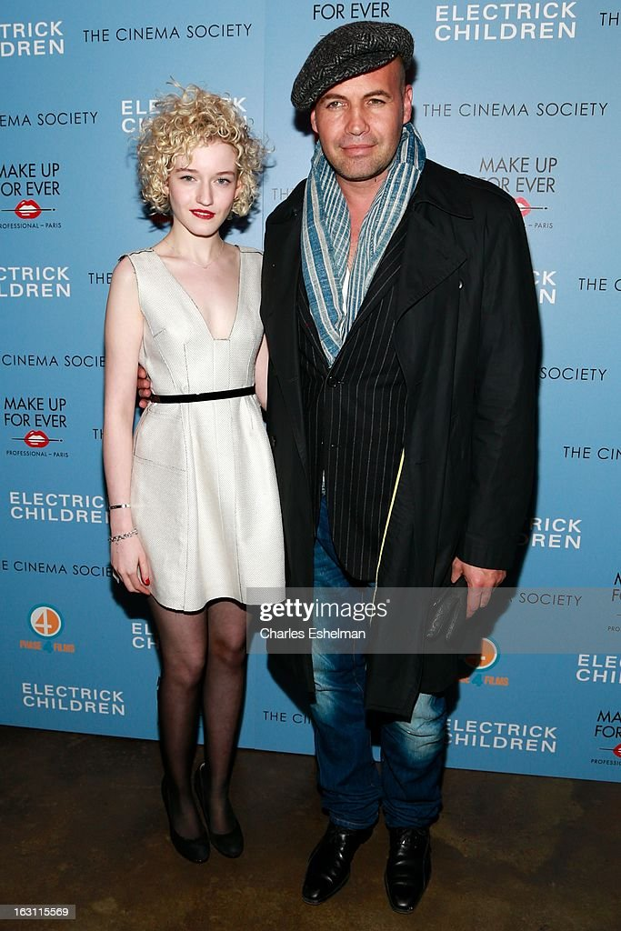 Actors Julia Garner and <a gi-track='captionPersonalityLinkClicked' href=/galleries/search?phrase=Billy+Zane&family=editorial&specificpeople=211418 ng-click='$event.stopPropagation()'>Billy Zane</a> attend The Cinema Society & Make Up For Ever host a screening of 'Electrick Children' at IFC Center on March 4, 2013 in New York City.