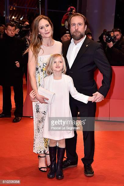 Actors Julia Jentsch Emilia Pieske and Bjarne Maedel attend the '24 Wochen' premiere during the 66th Berlinale International Film Festival Berlin at...
