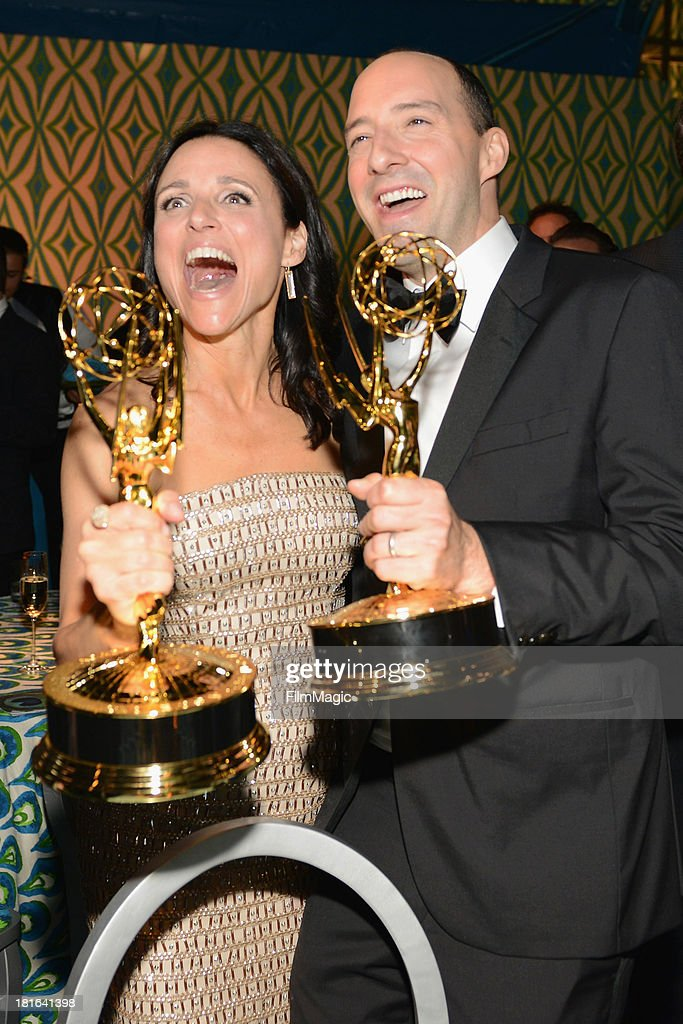 Actors <a gi-track='captionPersonalityLinkClicked' href=/galleries/search?phrase=Julia+Louis-Dreyfus&family=editorial&specificpeople=208965 ng-click='$event.stopPropagation()'>Julia Louis-Dreyfus</a> (L) and <a gi-track='captionPersonalityLinkClicked' href=/galleries/search?phrase=Tony+Hale&family=editorial&specificpeople=745565 ng-click='$event.stopPropagation()'>Tony Hale</a> attend HBO's official Emmy after party at The Plaza at the Pacific Design Center on September 22, 2013 in Los Angeles, California.