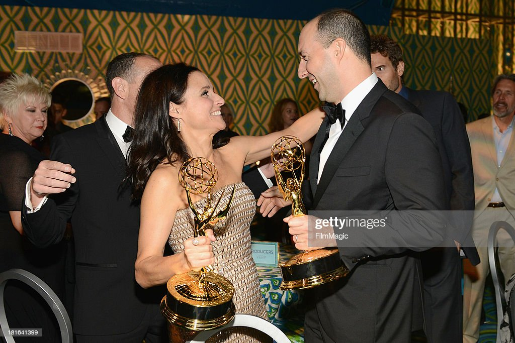 Actors <a gi-track='captionPersonalityLinkClicked' href=/galleries/search?phrase=Julia+Louis-Dreyfus&family=editorial&specificpeople=208965 ng-click='$event.stopPropagation()'>Julia Louis-Dreyfus</a> (L) and <a gi-track='captionPersonalityLinkClicked' href=/galleries/search?phrase=Tony+Hale&family=editorial&specificpeople=745565 ng-click='$event.stopPropagation()'>Tony Hale</a> attend HBO's official Emmy after party in The Plaza at the Pacific Design Center on September 22, 2013 in Los Angeles, California.