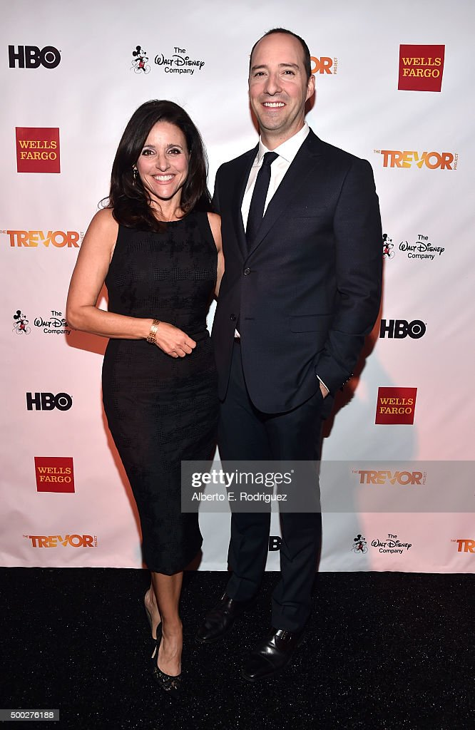 Actors Julia Louis-Dreyfus (L) and Tony Hale attend TrevorLIVE LA 2015 at Hollywood Palladium on December 6, 2015 in Los Angeles, California.