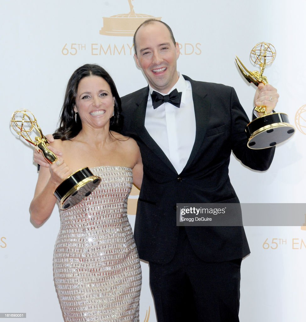 Actors Julia Louis-Dreyfus and Tony Hale pose in the press room at the 65th Annual Primetime Emmy Awards at Nokia Theatre L.A. Live on September 22, 2013 in Los Angeles, California.