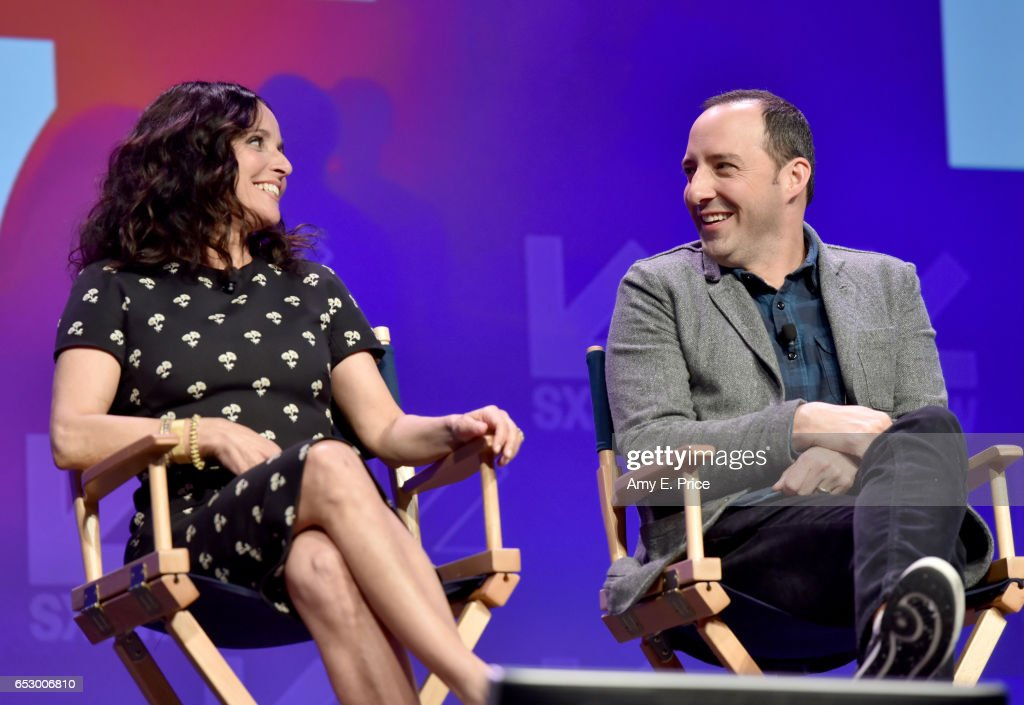 Actors Julia Louis-Dreyfus (L) and Tony Hale speak onstage at 'Featured Session: 'VEEP' Cast' during 2017 SXSW Conference and Festivals at Austin Convention Center on March 13, 2017 in Austin, Texas.