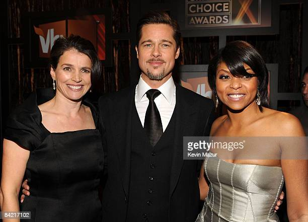 Actors Julia Ormond Brad Pitt and Taraji P Henson arrive on the red carpet at VH1's 14th Annual Critics' Choice Awards held at the Santa Monica Civic...