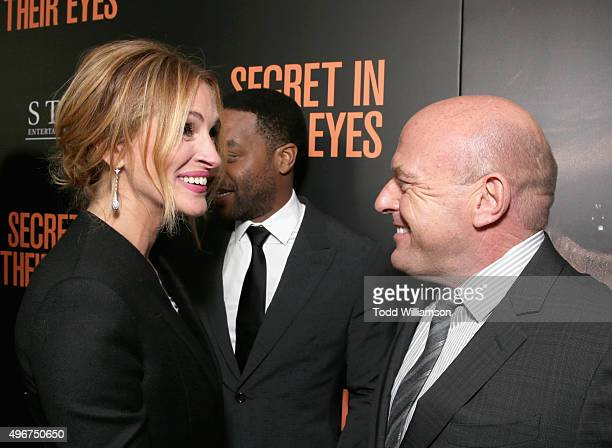 Actors Julia Roberts and Dean Norris attend the Premiere of STX Entertainment's 'Secret In Their Eyes' at the Hammer Museum on November 11 2015 in...