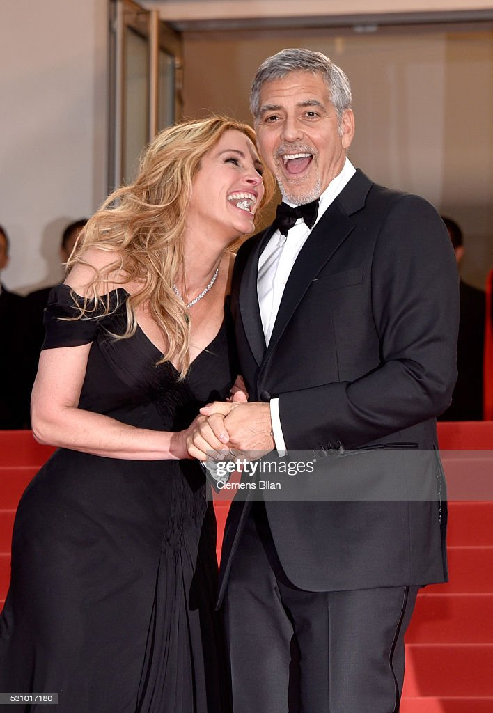 Actors Julia Roberts and George Clooney attend the 'Money Monster' premiere during the 69th annual Cannes Film Festival at the Palais des Festivals on May 12, 2016 in Cannes, France.