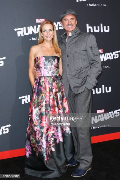 Actors Julian McMahon and Annie Wersching attend the premiere of Hulu's 'Marvel's Runaways' at The Regency Bruin Theatre on November 16 2017 in Los...
