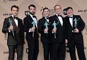 Actors Julian Ovenden Tom Cullen ALLEN LEECH Kevin Doyle and Jeremy Swift winners of the Outstanding Performance by an Ensemble in a Drama Series...