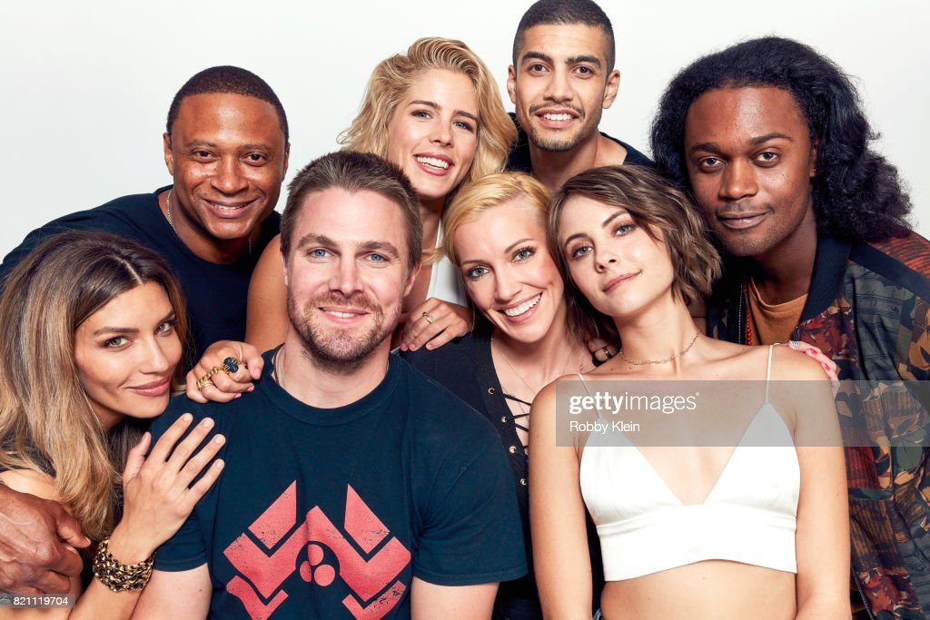 Actors Juliana Harkavy, David Ramsey, Stephen Amell, Emily Bett Rickards, Katie Cassidy, Rick Gonzalez, Willa Holland and Echo Kellum from CW's 'Arrow' pose for a portrait during Comic-Con 2017 at Hard Rock Hotel San Diego on July 22, 2017 in San Diego, California.