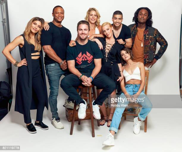 Actors Juliana Harkavy David Ramsey Stephen Amell Emily Bett Rickards Katie Cassidy Rick Gonzalez Willa Holland and Echo Kellum from CW's 'Arrow'...