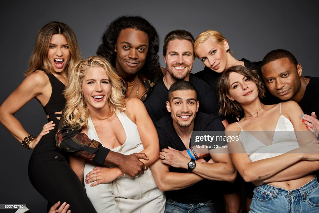 Actors Juliana Harkavy, Emily Bett Rickards, Echo Kellum, Stephen Amell, Rick Gonzalez, Katie Cassidy, Willa Holland and David Ramsey from Arrow are photographed for Entertainment Weekly Magazine on July 22, 2017 at Comic Con in San Diego, California. PUBLISHED