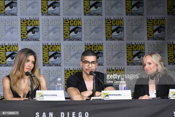 Actors Juliana Harkavy Rick Gonzalez and producer Wendy Mericle attend the 'Arrow' Video Presentation And QA during ComicCon International 2017 at...