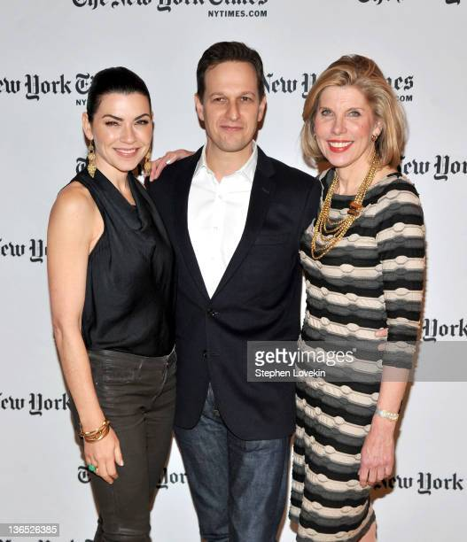 Actors Julianna Margulies Josh Charles and Christine Baranski attend the New York Times TimesTalk during the 2012 NY Times Arts Leisure weekend at...