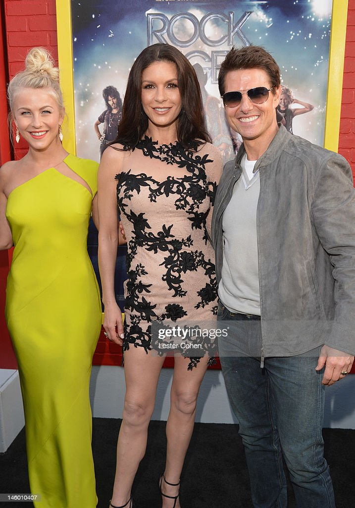 Actors <a gi-track='captionPersonalityLinkClicked' href=/galleries/search?phrase=Julianne+Hough&family=editorial&specificpeople=4237560 ng-click='$event.stopPropagation()'>Julianne Hough</a>, <a gi-track='captionPersonalityLinkClicked' href=/galleries/search?phrase=Catherine+Zeta-Jones&family=editorial&specificpeople=167111 ng-click='$event.stopPropagation()'>Catherine Zeta-Jones</a> and <a gi-track='captionPersonalityLinkClicked' href=/galleries/search?phrase=Tom+Cruise&family=editorial&specificpeople=156405 ng-click='$event.stopPropagation()'>Tom Cruise</a> arrive at the 'Rock of Ages' Los Angeles premiere held at Grauman's Chinese Theatre on June 8, 2012 in Hollywood, California.
