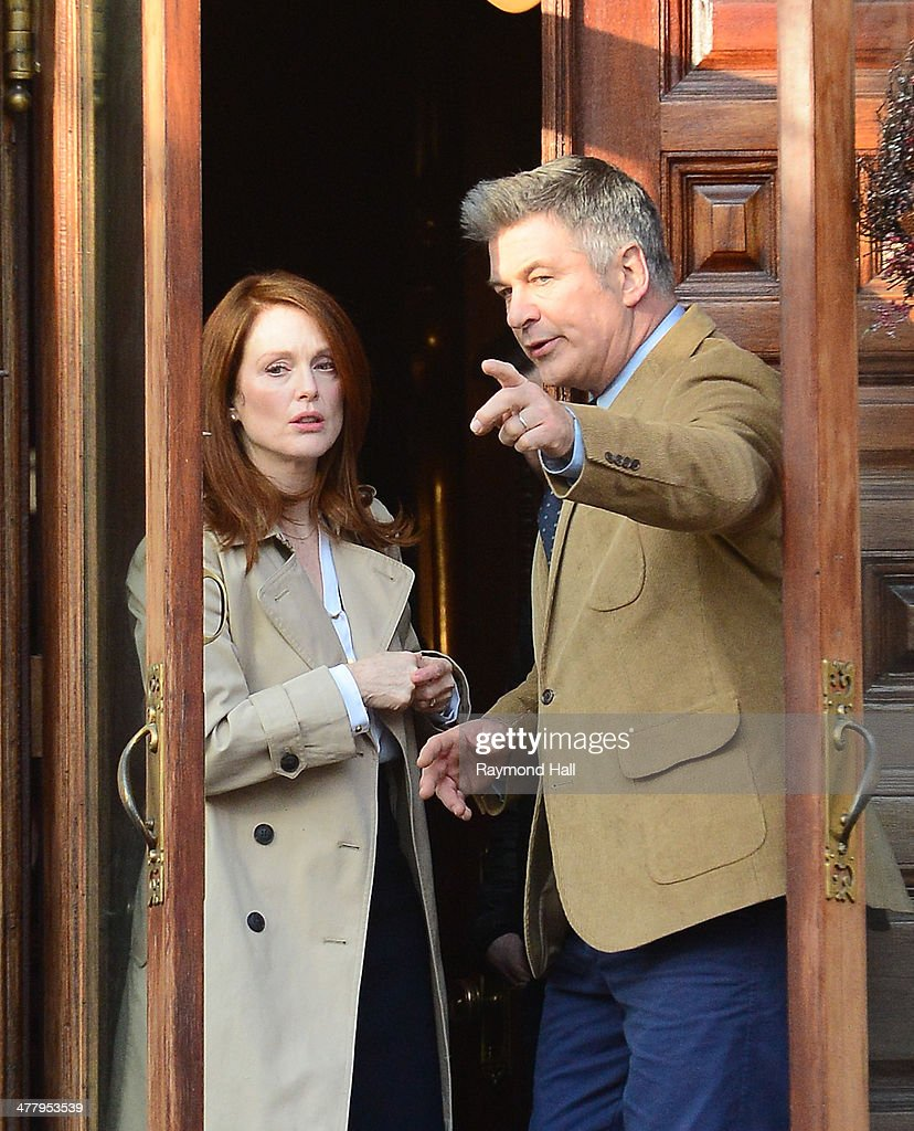 Actors Julianne Moore and Alec Baldwin are seen on the set of 'Still Alice' on March 11, 2014 in New York City.