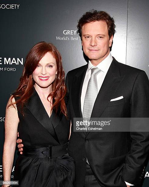 Actors Julianne Moore and Colin Firth attend a screening of 'A Single Man' hosted by the Cinema Society and Tom Ford at The Museum of Modern Art on...