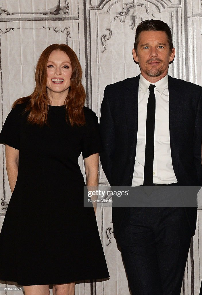 Actors <a gi-track='captionPersonalityLinkClicked' href=/galleries/search?phrase=Julianne+Moore&family=editorial&specificpeople=171555 ng-click='$event.stopPropagation()'>Julianne Moore</a> and <a gi-track='captionPersonalityLinkClicked' href=/galleries/search?phrase=Ethan+Hawke&family=editorial&specificpeople=178274 ng-click='$event.stopPropagation()'>Ethan Hawke</a> visit AOL Build to talk about their new movie ''Maggies Plan' at AOL Studios In New York on May 5, 2016 in New York City.