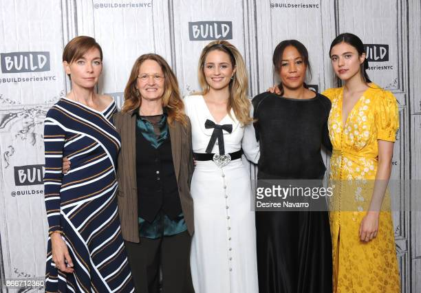 Actors Julianne Nicholson Melissa Leo Dianna Agron fimmaker Maggie Betts and Margaret Qualley visit Build to discuss 'Novitiate' at Build Studio on...