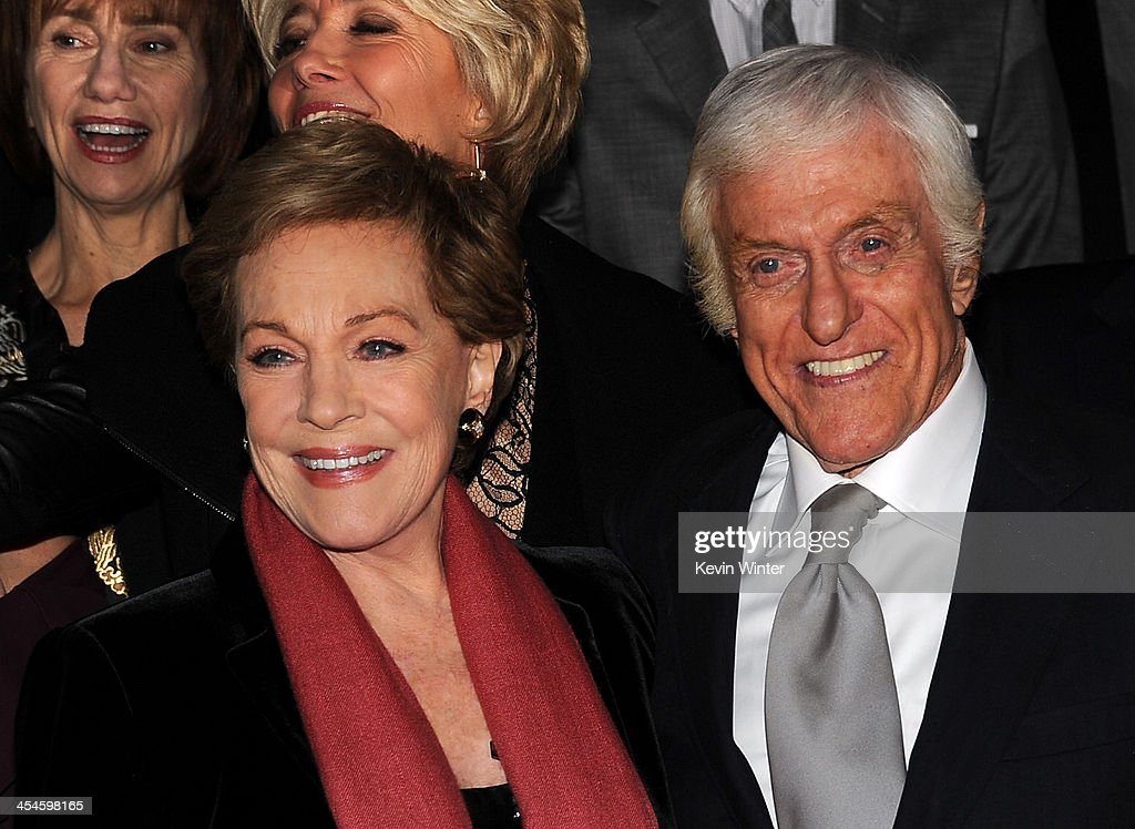 Actors <a gi-track='captionPersonalityLinkClicked' href=/galleries/search?phrase=Julie+Andrews&family=editorial&specificpeople=93639 ng-click='$event.stopPropagation()'>Julie Andrews</a> and <a gi-track='captionPersonalityLinkClicked' href=/galleries/search?phrase=Dick+Van+Dyke&family=editorial&specificpeople=123836 ng-click='$event.stopPropagation()'>Dick Van Dyke</a> attend the U.S. premiere of Disney's 'Saving Mr. Banks', the untold backstory of how the classic film 'Mary Poppins' made it to the screen, at the Walt Disney Studios on December 9, 2013 in Burbank, California. The film opens this Holiday season.