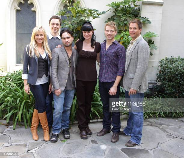 Actors Julie Benz Jim Parsons Johnny Galecki Pauley Perrette Barrett Foa Michael Weatherly participate in a reading of 'The Laramie Project 10 Years...