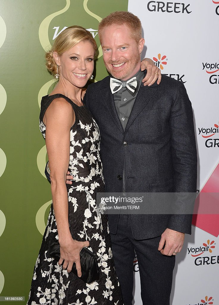 Actors <a gi-track='captionPersonalityLinkClicked' href=/galleries/search?phrase=Julie+Bowen&family=editorial&specificpeople=244057 ng-click='$event.stopPropagation()'>Julie Bowen</a> (L) and <a gi-track='captionPersonalityLinkClicked' href=/galleries/search?phrase=Jesse+Tyler+Ferguson&family=editorial&specificpeople=633114 ng-click='$event.stopPropagation()'>Jesse Tyler Ferguson</a> attend Variety & Women In Film Pre-Emmy Event presented by Yoplait Greek at Scarpetta on September 20, 2013 in Beverly Hills, California.