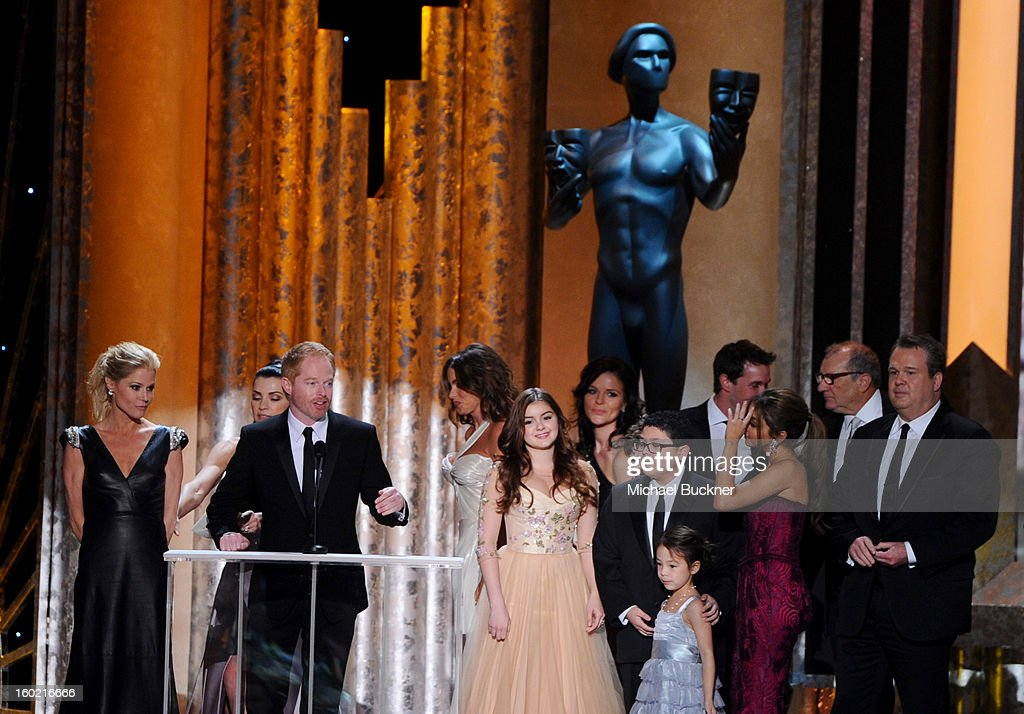 Actors Julie Bowen, Jesse Tyler Ferguson, Sofia Vergara, Ariel Winter, Rico Rodriguez, Aubrey Anderson-Emmons, Sarah Hyland, Ed O'Neill and Eric Stonestreet attend the 19th Annual Screen Actors Guild Awards at The Shrine Auditorium on January 27, 2013 in Los Angeles, California. (Photo by Michael Buckner/WireImage) 23116_019_2190.JPG
