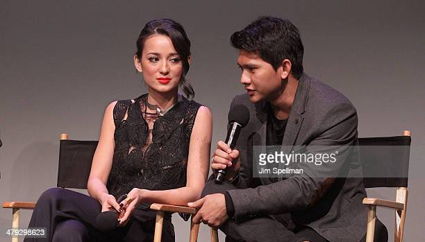Actors Julie Estelle and Iko Uwais attend 'Meet The Filmmakers' at Apple Store Soho on March 17 2014 in New York City