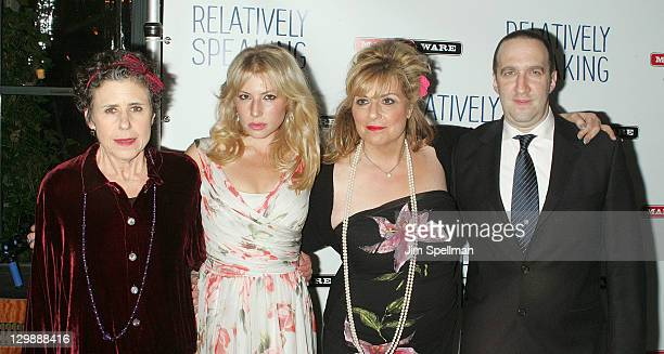 Actors Julie Kavner Ari Graynor Caroline Aaron and Danny Hoch attend the 'Relatively Speaking' opening night after party at the Brooks Atkinson...