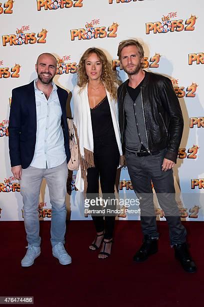 Actors Julien Arruti Elodie Fontan and Philippe Lacheau attend 'Les Profs 2' Paris Premiere at Le Grand Rex on June 9 2015 in Paris France