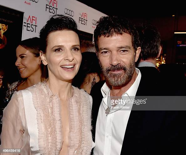 Actors Juliette Binoche and Antonio Banderas attend the Centerpiece Gala Premiere of Alcon Entertainment's 'The 33' during AFI FEST 2015 presented by...