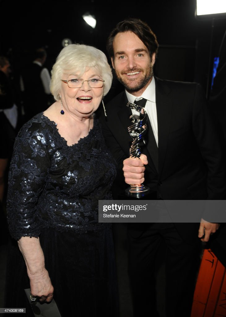 Actors June Squibb (L) and Will Forte attend the 16th Costume Designers Guild Awards with presenting sponsor Lacoste at The Beverly Hilton Hotel on February 22, 2014 in Beverly Hills, California.