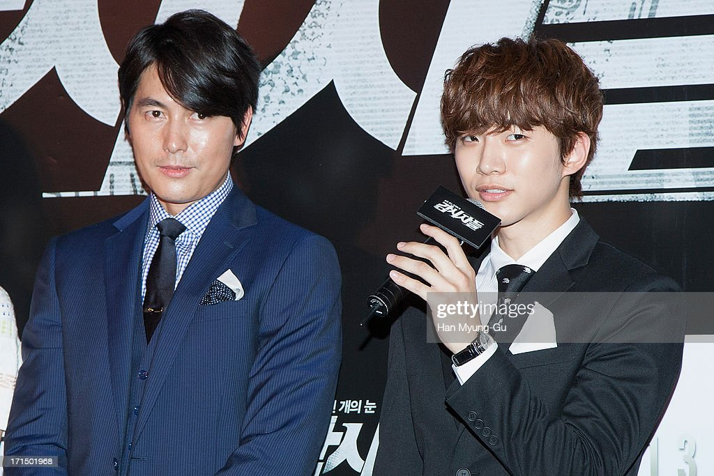 Actors Jung Woo-Sung and Junho of South Korean boy band 2PM attend during the 'Cold Eyes' VIP screening at Coex Mega Box on June 25, 2013 in Seoul, South Korea. The film will open on July 03 in South Korea.