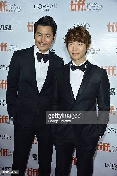 Actors Jung Woosung and Lee Junho attend the 'Cold Eyes' premiere during the 2013 Toronto International Film Festival at Roy Thomson Hall on...