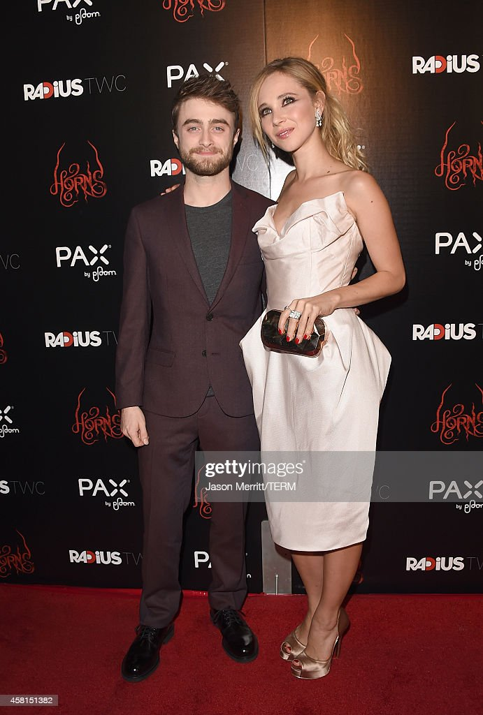 Actors Juno Temple and Daniel Radcliffe arrive at the Los Angeles premiere of RADiUSTWC's 'Horns' at ArcLight Hollywood on October 30 2014 in...